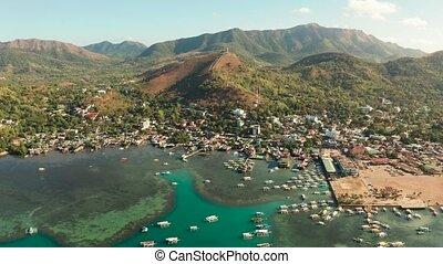 Coron town aerial view. Philippines, Palawan, Busuanga -...