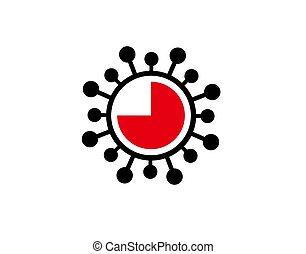 Corona Alarm Clock Flat Icon on white background in vector illustration