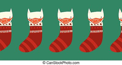 Corona Christmas border. Cat in stocking wearing a face mask cute seamless repeating holiday pattern. Coronavirus Merry Christmas vector design. Pandemic awareness Illustration for children.