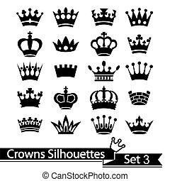 corona, colección, -, vector, silueta