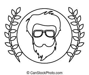 corona d'alloro, hipster, faccia