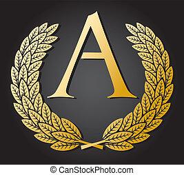 corona d'alloro, lettera, oro