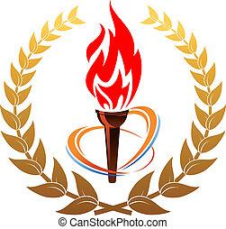 corona d'alloro, torcia, fiammeggiante
