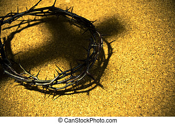 corona de espinas, con, sombra, de, cruz