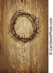 corona de espinas, en, grunge, madera, plano de fondo
