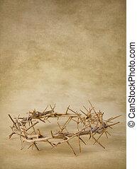 corona de espinas, en, grunge, papel pintado