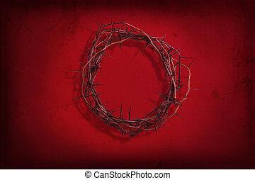 corona de espinas, en, grunge rojo, plano de fondo