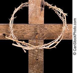 corona de espinas, en, un, cruz