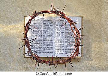 corona de espinas, y, biblia