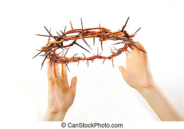 corona de espinas, y, manos, aislado