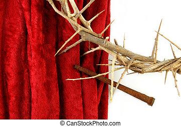 corona de espinas, y, pincho, en, tela roja
