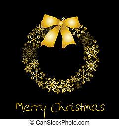 corona de navidad, con, dorado, arco