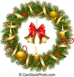 corona de navidad, con, navidad, tre
