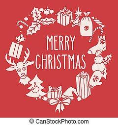 corona de navidad, con, saludos