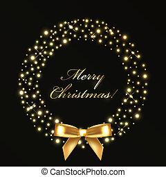 corona de navidad, de, oro, luces