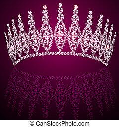 corona, diadeem, vrouwelijk, trouwfeest, met, reflectie