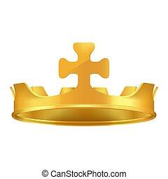 corona dorata, croce, realistico, vettore, icona, 3d