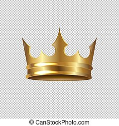 corona dorata, isolato, fondo, trasparente