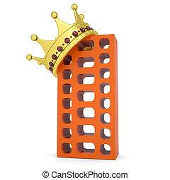 corona, en, el, edificio de ladrillo