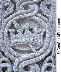 corona, intagliato, in, pietra