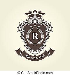 corona, medievale, cappotto, ghirlanda, -, braccia, reale, alloro, scudo