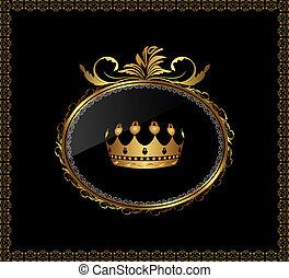 corona, ornamento, fondo, oro, nero