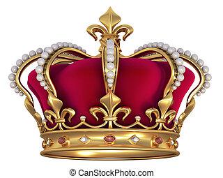 corona oro, con, gemas