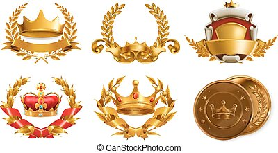 corona oro, y, laurel, wreath., 3d, vector, logotipo