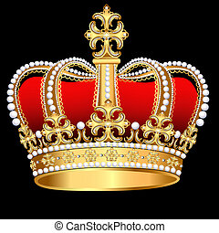 corona, padrão, tsarist, ouro, pérola