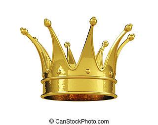 corona real, aislado, oro