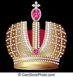 corona, real, gold(en), rubí