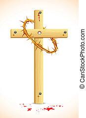 corona spine, su, legno, croce