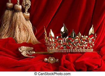 corona, terciopelo, cetro, rojo