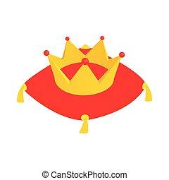 corona, terciopelo, rojo, cojín, icono