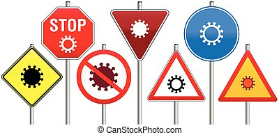Corona traffic signs with Coronavirus symbols. Isolated vector illustration on white background.