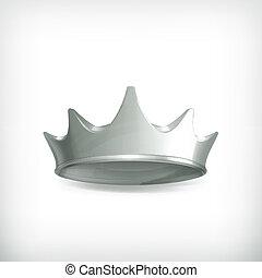 corona, vector, plata