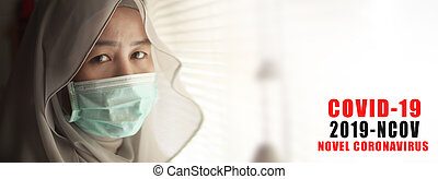 Corona virus, 2019-nCoV OR COVID-19. Novel Coronavirus. Muslim woman patient in isolated lockdown room. Health care and medical concept