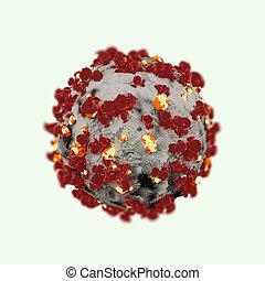 corona, virus, aislado