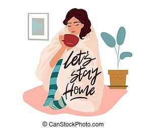 Corona virus (covid 19) campaign to stay at home. lifestyle activity that you can do at home to stay healthy. Flat design vector