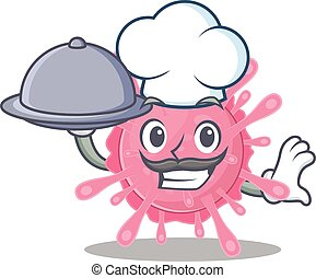 Corona virus germ as a chef cartoon character with food on tray