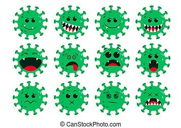 Corona-virus green emoticon vector set. Ncov covid19 corona virus flat cartoon icon and emoji with naughty and dizzy facial expressions isolated.