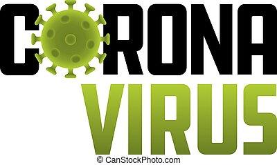 Corona Virus logo illustration with virus molecule