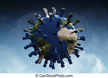 Microscopic view of a infectious virus. Virus cell with world map texture.. 3D illustration of Coronavirus cells