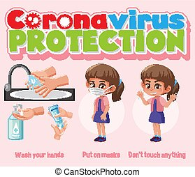 Corona virus protection infographic illustration