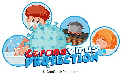 Corona virus protection sign illustration