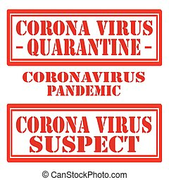 Corona Virus - Set of stamps with text Corona virus, vector ...