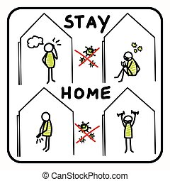 Corona virus stay at home banner poster. Advice to stay indoors to flatten curve. Covid 19 infographic stick figures. Social media support clipart. Responsibly working together cartoon concept.