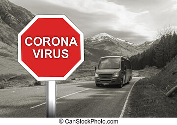 Corona virus warning sign on the road with turists and imigrants on bus
