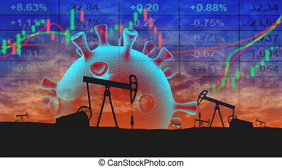 The collapse of the market and the stock exchange due to covid-19 coronavirus.  Collage from oil pumps, coronavirus cells and graphs. Seamless loop video.