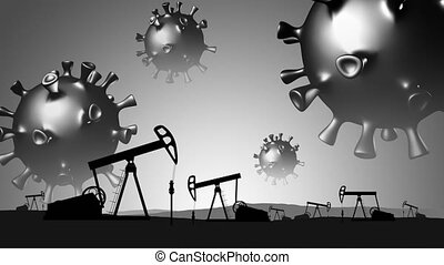 Covid-19. Oil industry collapse concept. 3d models of coronaviruses fly over the oil field.
